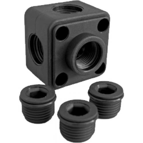 Luftverteilerdose Kunststoff 1/2 Zoll inkl. 3 Stopfen
