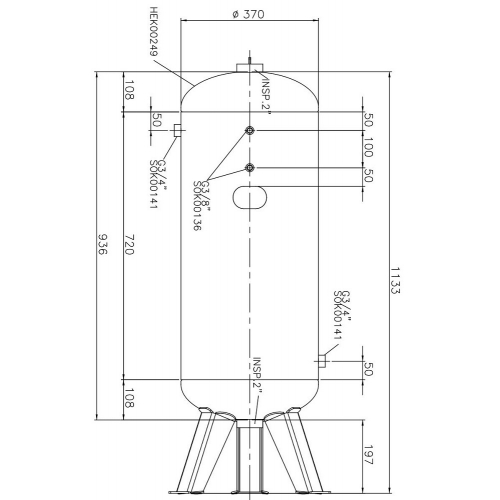 Aerotec Druckluftkessel 90 L stehend - 11 bar verzinkt