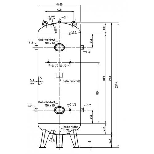 Aerotec Druckluftkessel 1000 L stehend - 11 bar verzinkt AD2000 mit Anbausatz