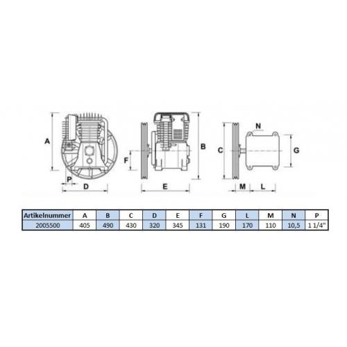 Aggregat B5900B - 15 Bar - 2 Zylinder - 400 Volt