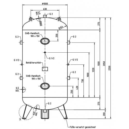 Aerotec Druckluftkessel 1500 L 16 bar verzinkt Lufttank Tank Kessel