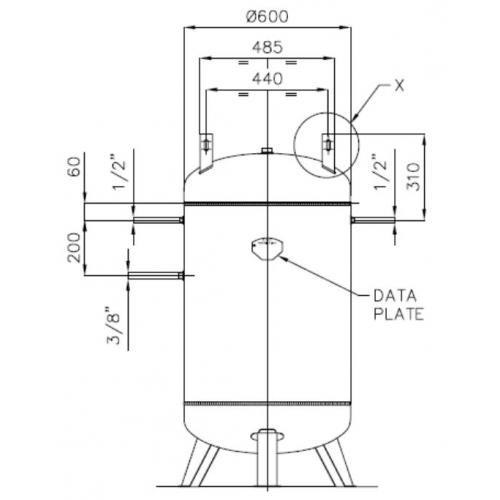 Druckluftkessel 270 L stehend mit Aufbaulaschen- 11 bar AD2000 OHNE Anbausatz