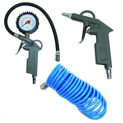 Druckluftset 3 teilig mit Ausblaspistole, Reifenfüller und Spiralschlauch