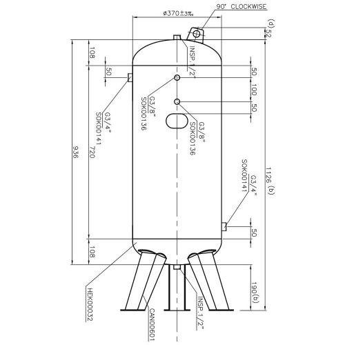 Druckluftkessel 90 L stehend - 10 bar gepulvert mit Anbausatz